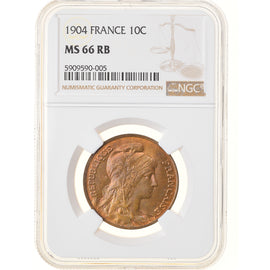 Monnaie, France, Dupuis, 10 Centimes, 1904, Paris, NGC, MS66RB, FDC, Bronze