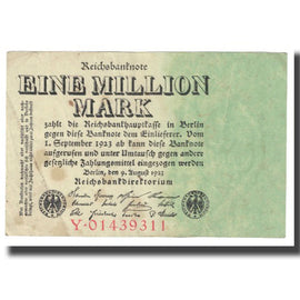 Billet, Allemagne, 1 Million Mark, 1923, 1923-08-09, KM:102a, TTB