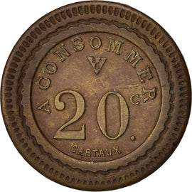 France, 20 Centimes, TTB+, Brass