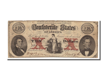 Billet, Confederate States of America, 10 Dollars, 1861, 1861-09-02, TB+