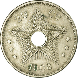 Monnaie, CONGO FREE STATE, Leopold II, 20 Centimes, 1908, TTB, Copper-nickel