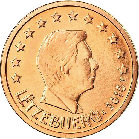 Luxembourg, 2 Euro Cent, 2010, SPL, Copper Plated Steel, KM:76