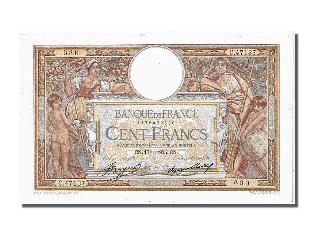 "100 Francs Luc Oliver Merson type ""Grands Cartouches"""