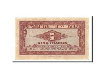 Billet, French West Africa, 5 Francs, 1942, 1942-12-14, KM:28a, SPL