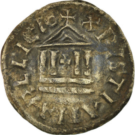 Monnaie, France, Denier au temple, 822-840, TB+, Argent