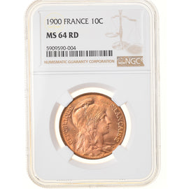 Monnaie, France, Dupuis, 10 Centimes, 1900, Paris, NGC, MS64RD, SPL+, Bronze