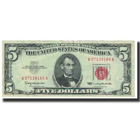 Billet, États-Unis, Five Dollars, 1963, TTB
