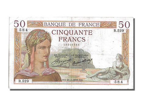 Billet, France, 50 Francs, 50 F 1934-1940 ''Cérès'', 1935, 1935-02-21, TTB