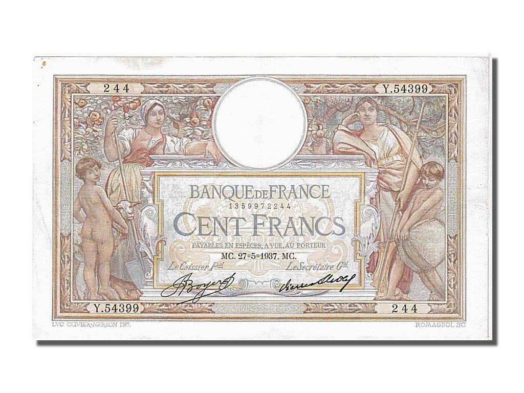 "100 Francs Luc Olivier Merson type 1906 ""Grands Cartouches"""