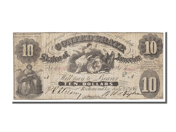 Billet, Confederate States of America, 10 Dollars, 1861, 1861-07-25, TB