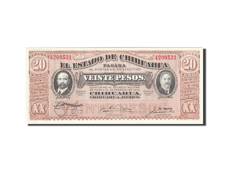 Mexico - Revolutionary, 20 Pesos, 1914, 1914-02-10, KM:S536b, SPL