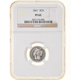 Monnaie, États-Unis, Nickel 3 Cents, 1867, U.S. Mint, Philadelphie, Proof, NGC