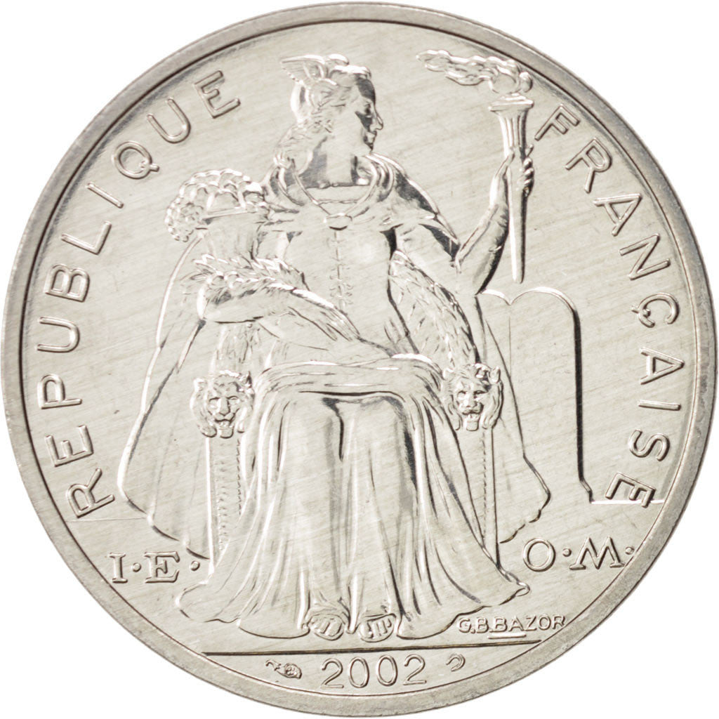 French Polynesia, 5 Francs, 2002, Paris, Aluminium, KM:12