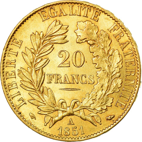 Monnaie, France, Cérès, 20 Francs, 1851, Paris, SUP, Or, Gadoury:1059, KM:762