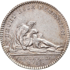 France, Jeton, Royal, Louis XV, Trésor Royal, 1738, Duvivier, TTB+, Argent
