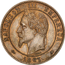 Second Empire, 10 Centimes Napoléon III tête laurée 1863 A, KM 798.1