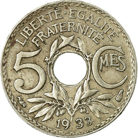 Monnaie, France, Lindauer, 5 Centimes, 1933, Paris, TTB, Copper-nickel