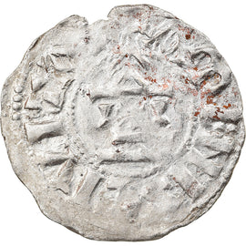 Monnaie, France, Picardie, Gautier II, Denier, 986-1027, Amiens, Extremely rare