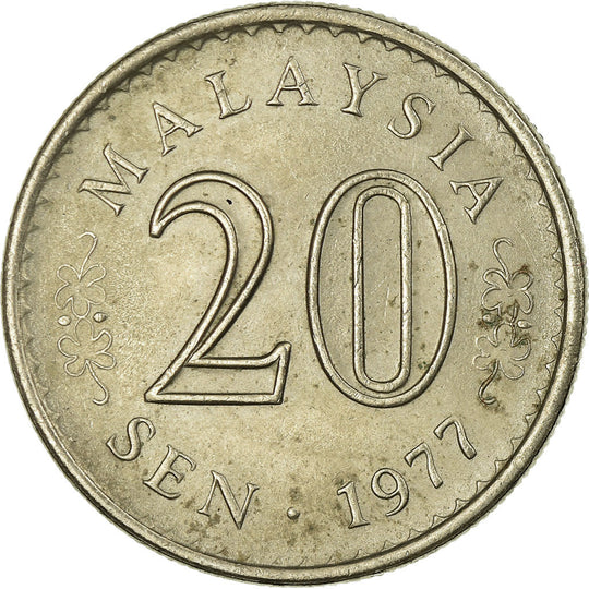 Monnaie, Malaysie, 20 Sen, 1977, Franklin Mint, TB+, Copper-nickel, KM:4