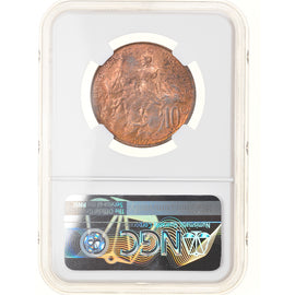 Monnaie, France, Dupuis, 10 Centimes, 1907, Paris, NGC, MS64RB, SPL+, Bronze