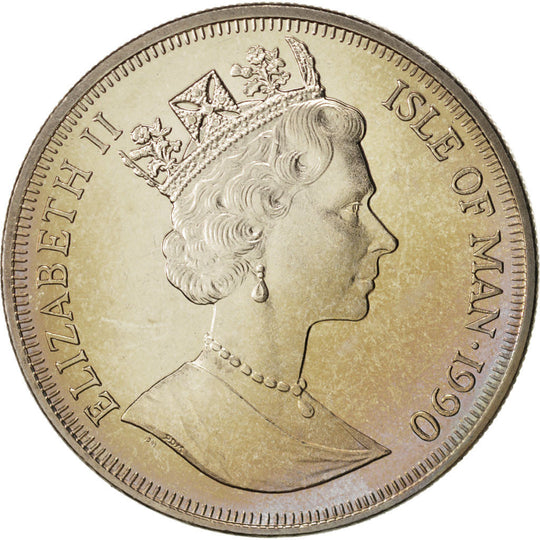 Isle of Man, Elizabeth II, Crown, 1990, Pobjoy Mint, Argent, KM:307a