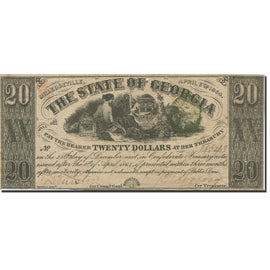Billet, États-Unis, 20 Dollars, 1864, 1864-04-06, Georgia, TTB+