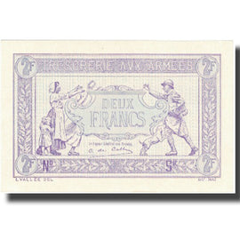 France, 2 Francs, 1917-1919 Army Treasury, 1917, 1917, SPL+, Fayette:VF5.4