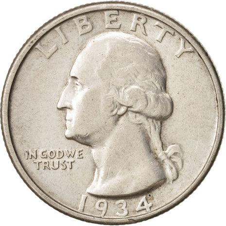 États-Unis, Washington Quarter, 1934, TTB, KM:164