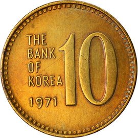 Monnaie, KOREA-SOUTH, 10 Won, 1971, SUP, Laiton, KM:6a
