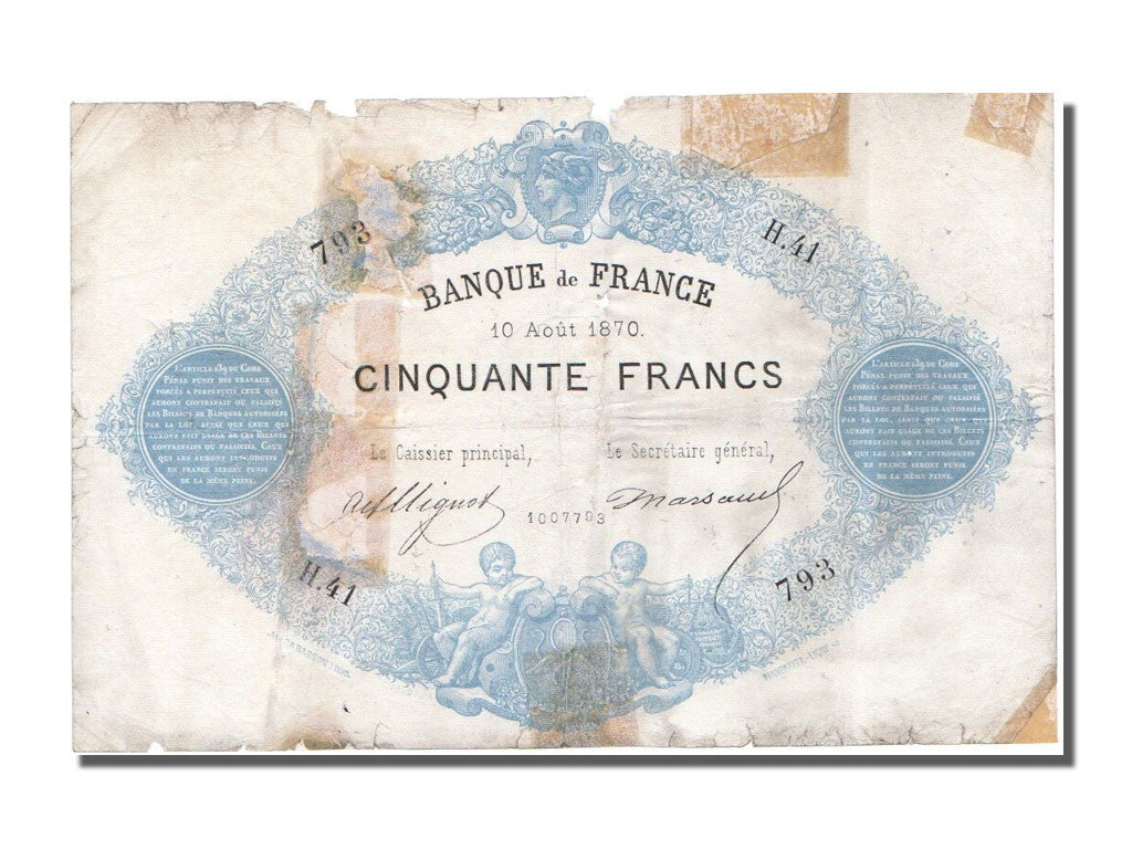 Billet, France, 50 Francs, ...-1889 Circulated during XIXth, 1870, 1870-08-10