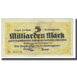 Billet, Allemagne, Recklinghausen, 5 Milliarden Mark, Texte, 1923, 1923-10-23