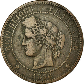 Monnaie, France, Cérès, 10 Centimes, 1876, Paris, TB, Bronze, KM:815.1
