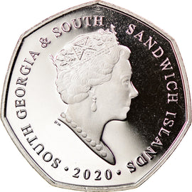 Monnaie, South Georgia and the South Sandwich Islands, 50 Pence, 2020, Pingouins