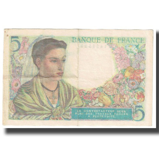 France, 5 Francs, Berger, 1943, 1943-11-25, SUP, Fayette:5.4, KM:98a