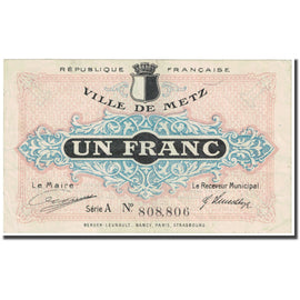 France, Metz, 1 Franc, 1918, Emission Municipale, TB, Pirot:131-4