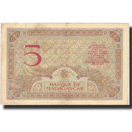 Billet, Madagascar, 5 Francs, 1937, KM:35, SUP