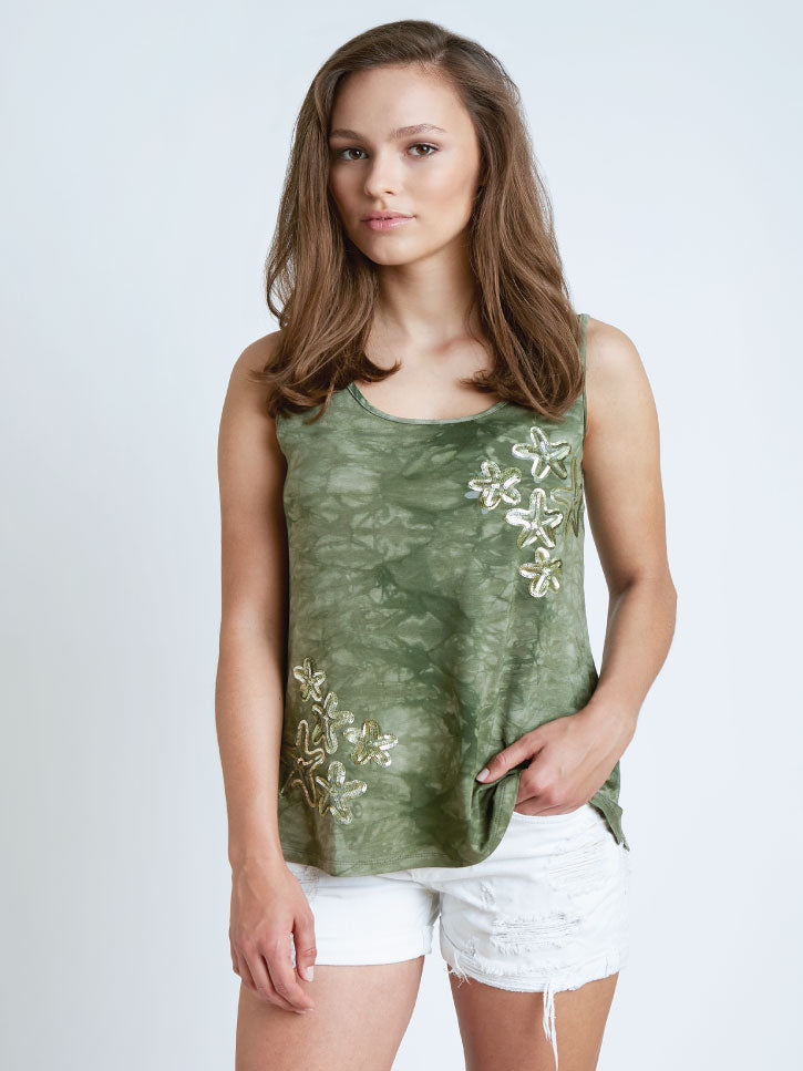 #SEATREASURE - TANKTOP IN BATIK-OPTIK , OLIVE