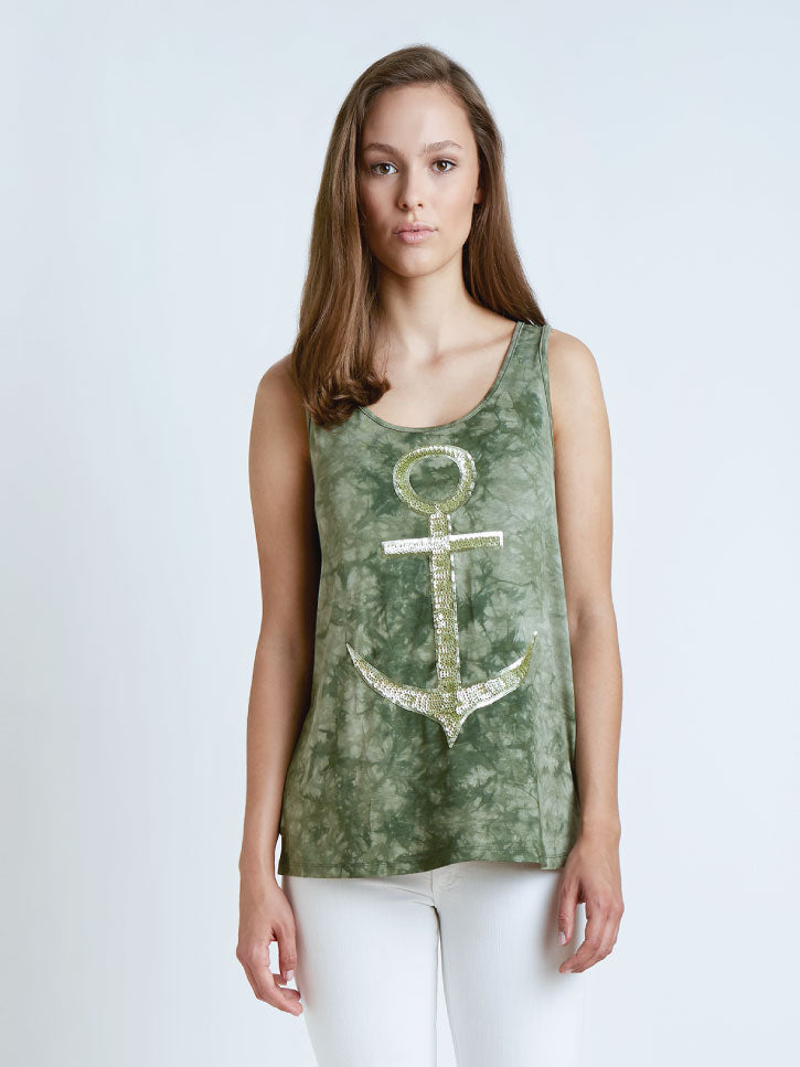#SEATREASURE - TANKTOP IN BATIK-OPTIK MIT ANKER-MOTIV, GRÜN