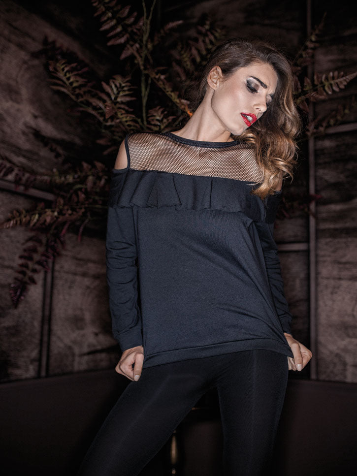 #FASHIONISTA - CUT OUT LANGARMSHIRT MIT RAFFUNGEN