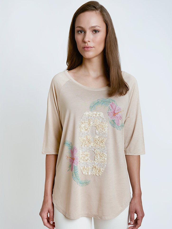 Damenshirt in Hawaii-Style mit Pailletten, beige