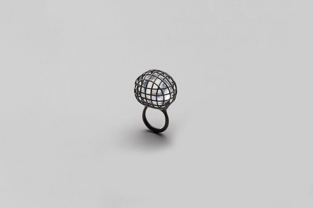 Grace Round ring | oxidised sterling silver