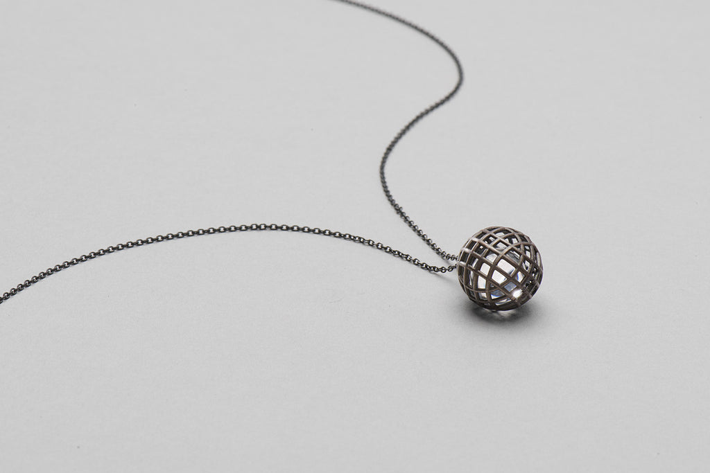Grace Round pendant | oxidised sterling silver