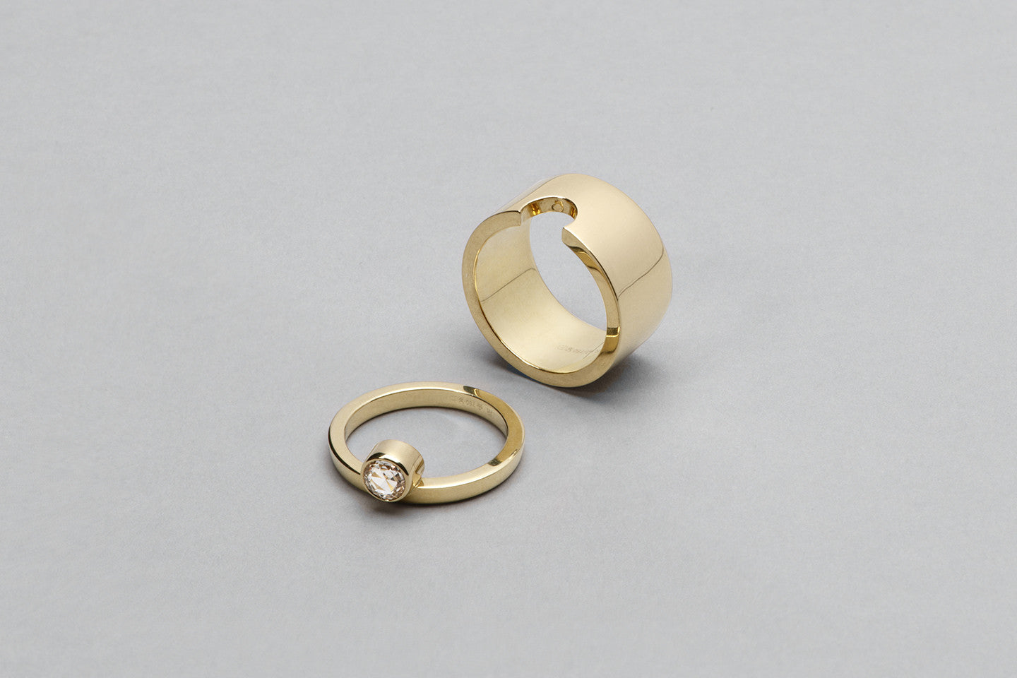 WE Ring | 18K Yellow Gold with Rose cut diamond