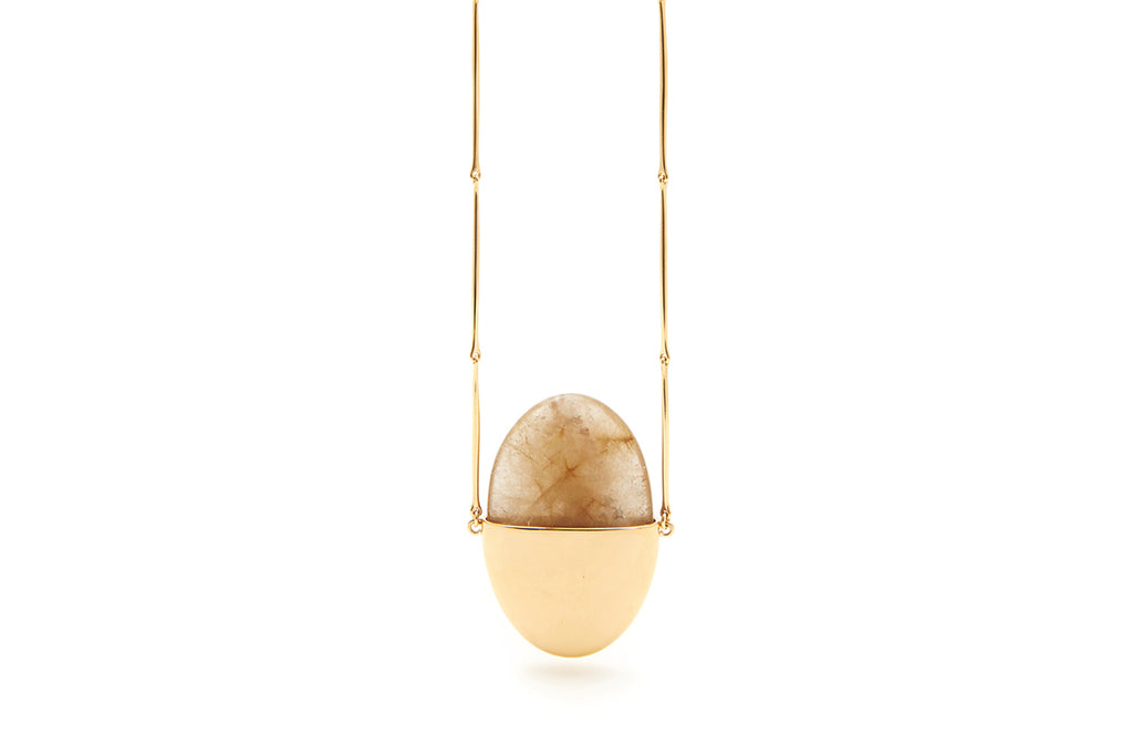 A Beautiful Life Large Pendant | 18K Yellow Gold and Rutilated Quartz Crystal