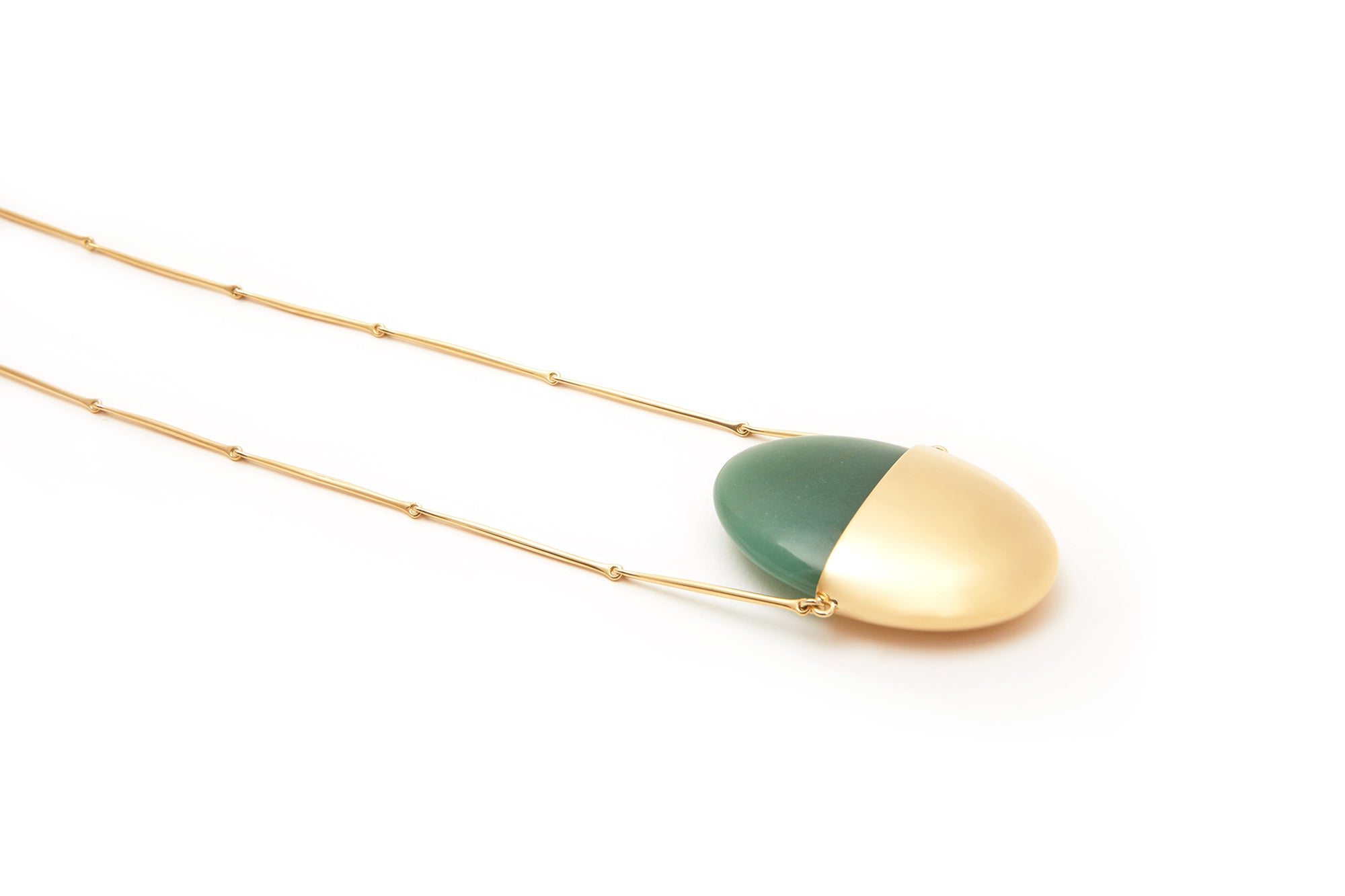 A Beautiful Life Large Pendant | 18K Yellow Gold and Aventurine