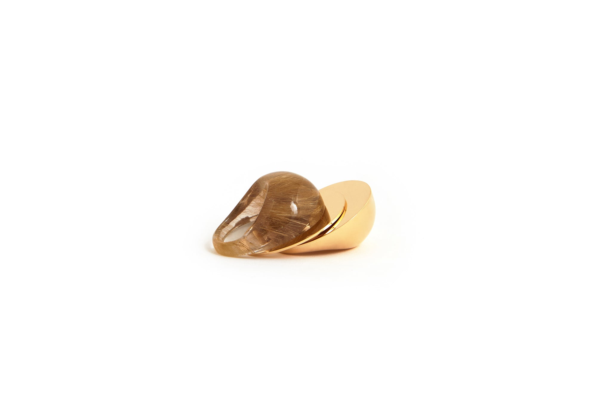 A Beautiful Life Ring | 18K Yellow Gold and Rutilated Quartz Crystal