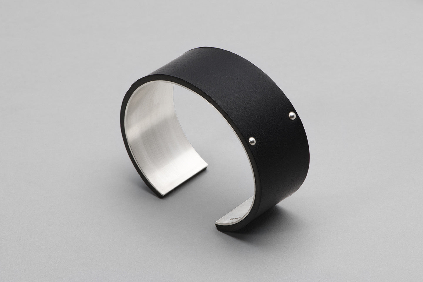 Wyatt Love Cuff | Black Leather and Sterling Silver
