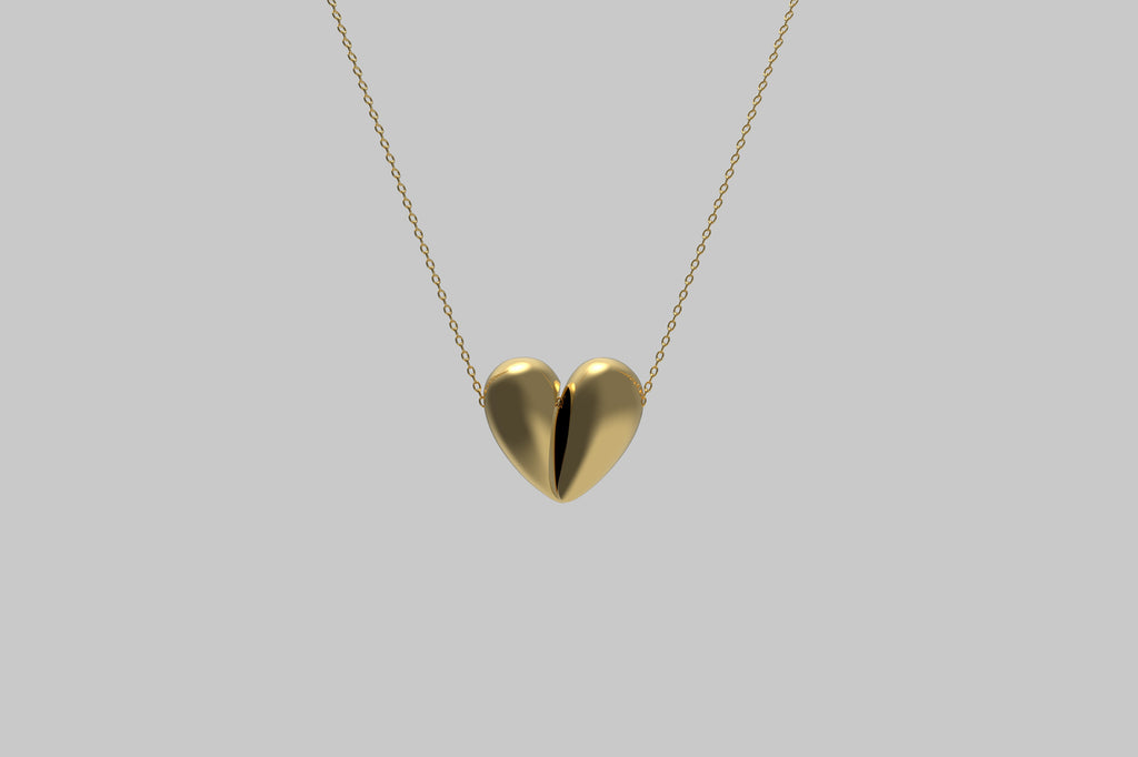 Black Love Large Pendant | 18K Yellow Gold