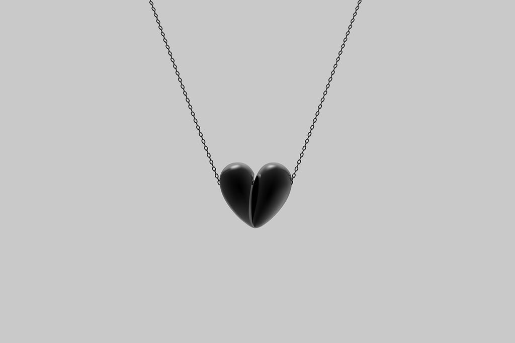 Black Love Large Pendant | Oxidised Sterling Silver