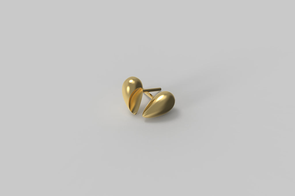 Black Love Ear Studs | 18K Yellow Gold